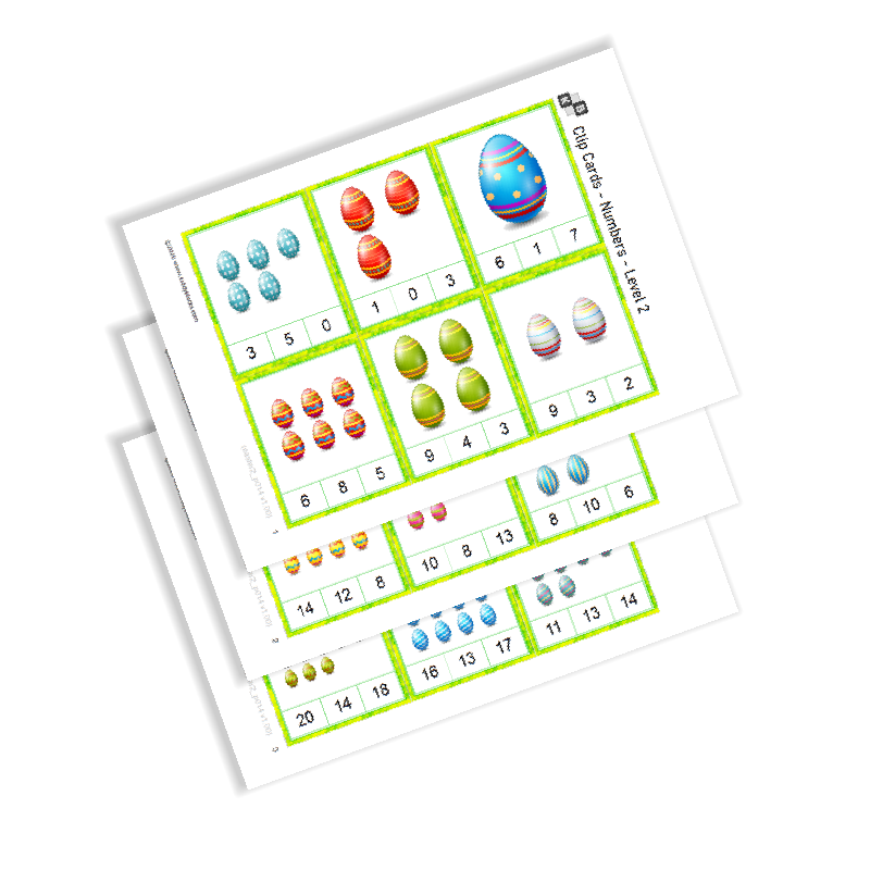 Clip Cards - Numbers - Easter